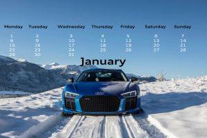 January 2018 audi ottawa desktop calendar r8